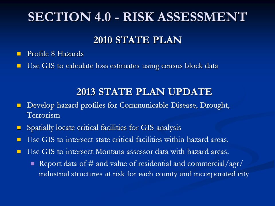 SECTION 4.0 - RISK ASSESSMENT 2010 STATE PLAN Profile 8 Hazards Profile 8 Hazards Use GIS to calculate loss estimates using census block data Use GIS