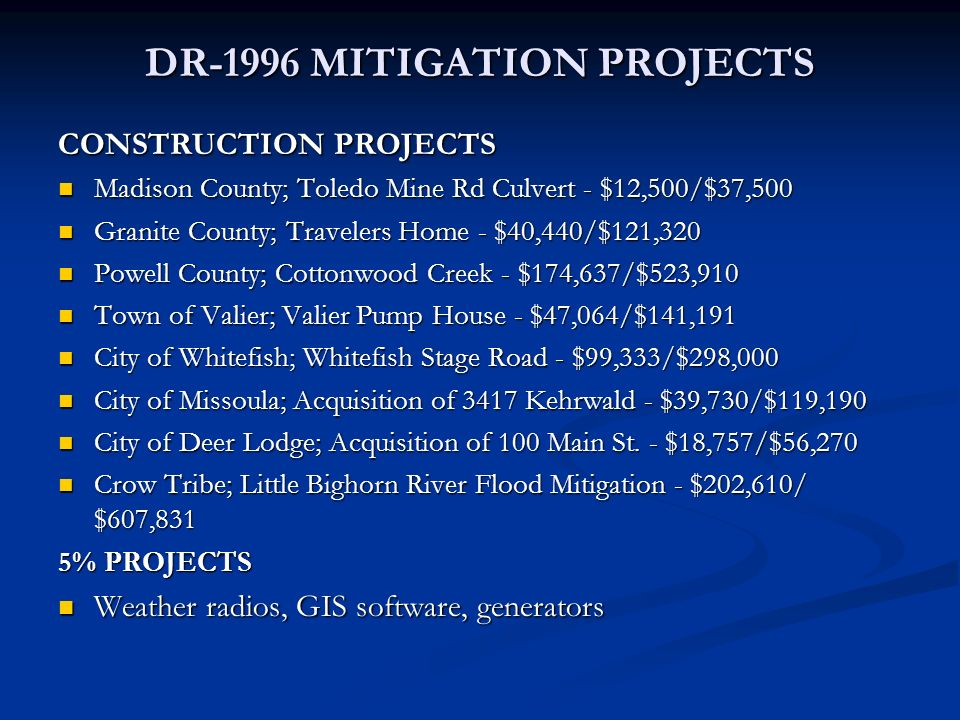 DR-1996 MITIGATION PROJECTS CONSTRUCTION PROJECTS Madison County; Toledo Mine Rd Culvert - $12,500/$37,500 Madison County; Toledo Mine Rd Culvert - $1