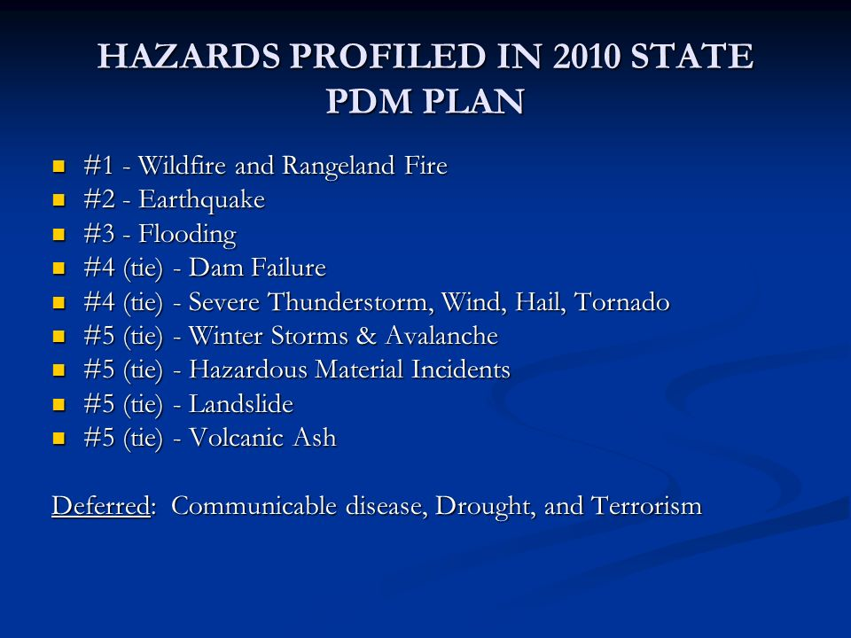 HAZARDS PROFILED IN 2010 STATE PDM PLAN #1 - Wildfire and Rangeland Fire #1 - Wildfire and Rangeland Fire #2 - Earthquake #2 - Earthquake #3 - Floodin
