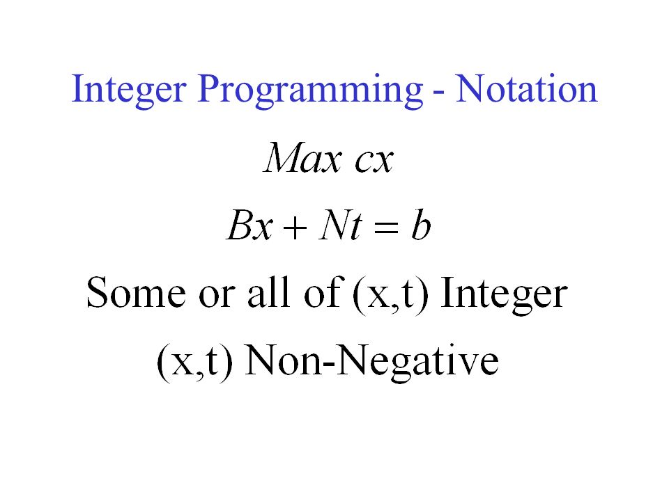 Integer Programming - Notation