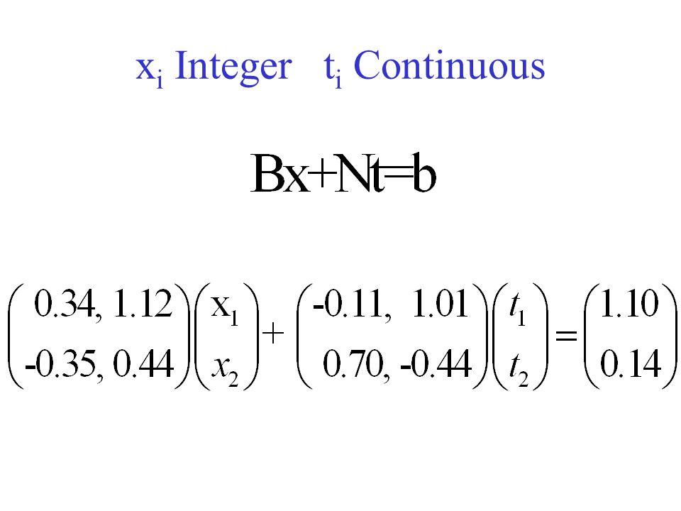 x i Integer t i Continuous