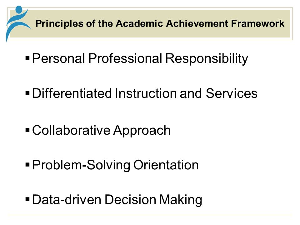 Principles of the Academic Achievement Framework Personal Professional Responsibility Differentiated Instruction and Services Collaborative Approach Problem-Solving Orientation Data-driven Decision Making