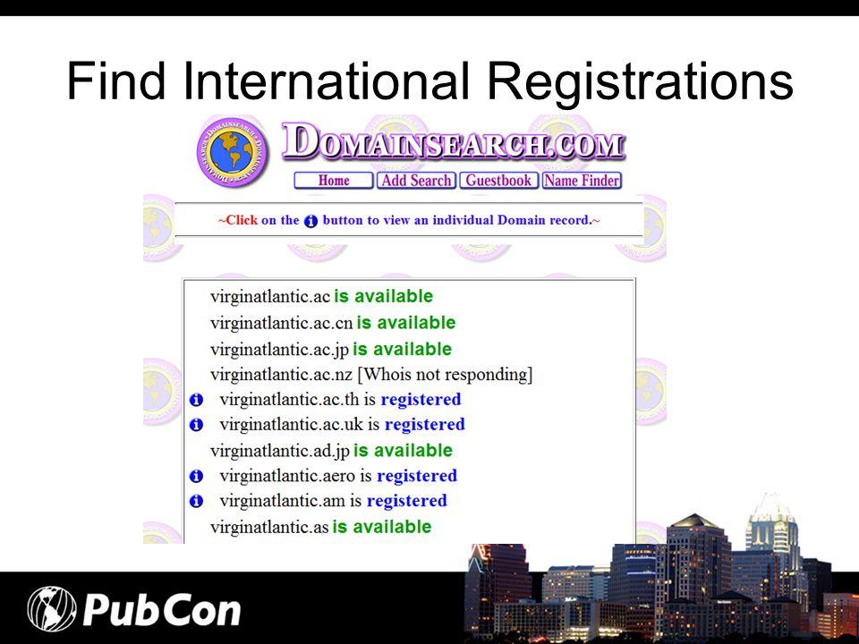 Find International Registrations