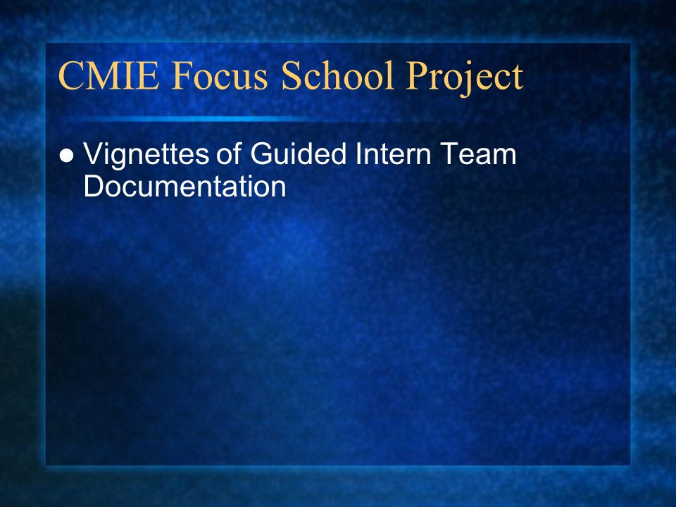 CMIE Focus School Project Vignettes of Guided Intern Team Documentation
