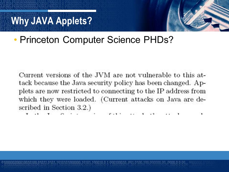 Princeton Computer Science PHDs Why JAVA Applets