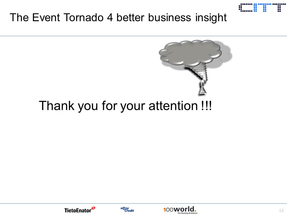 Thank you for your attention !!! 14 The Event Tornado 4 better business insight
