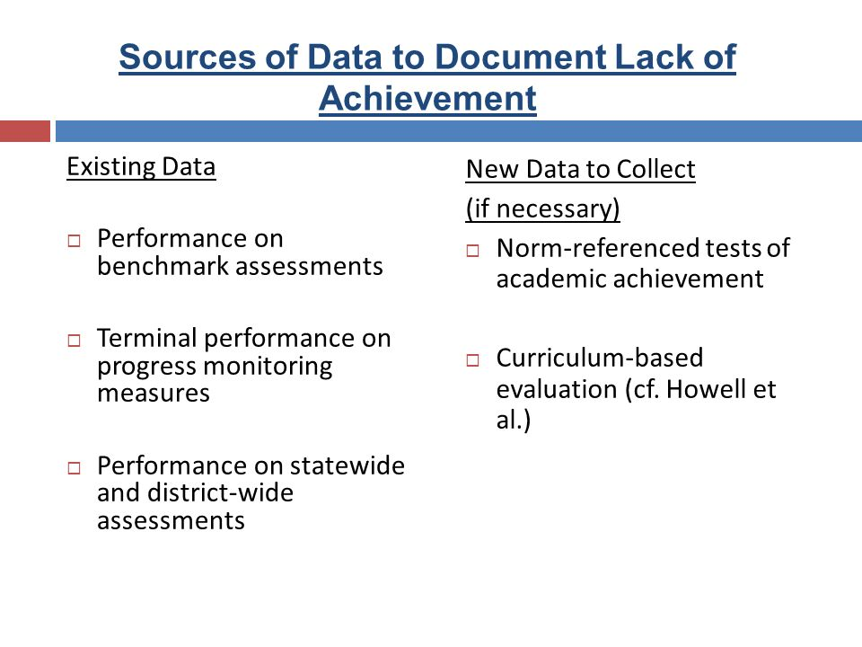 Sources of Data to Document Lack of Achievement Existing Data Performance on benchmark assessments Terminal performance on progress monitoring measure