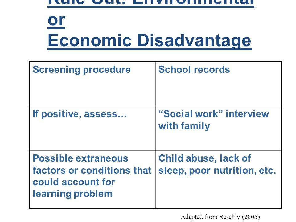 Rule Out: Environmental or Economic Disadvantage Screening procedureSchool records If positive, assess…Social work interview with family Possible extr