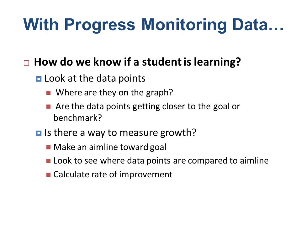 With Progress Monitoring Data… How do we know if a student is learning? Look at the data points Where are they on the graph? Are the data points getti