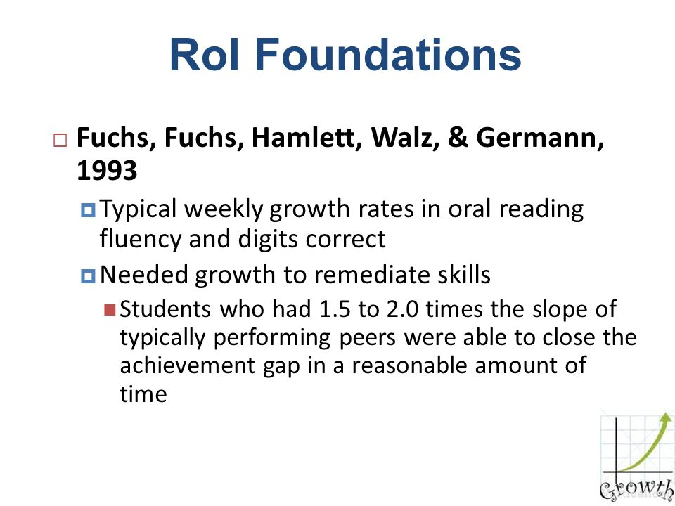 RoI Foundations Fuchs, Fuchs, Hamlett, Walz, & Germann, 1993 Typical weekly growth rates in oral reading fluency and digits correct Needed growth to r