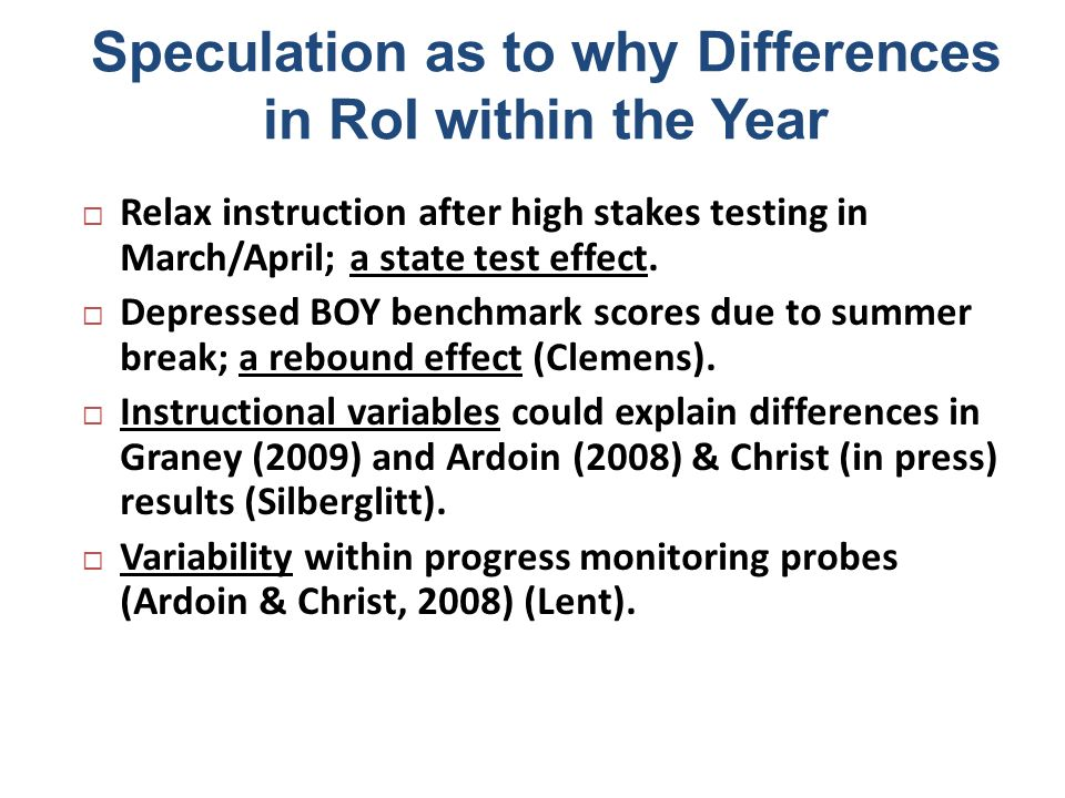 Speculation as to why Differences in RoI within the Year Relax instruction after high stakes testing in March/April; a state test effect. Depressed BO