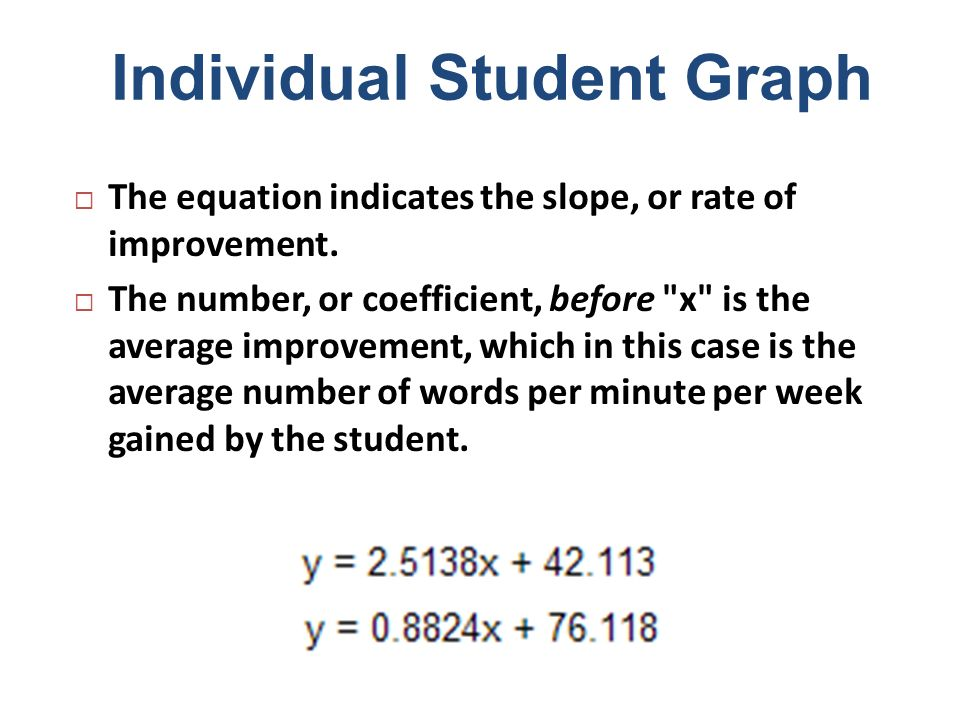 Individual Student Graph The equation indicates the slope, or rate of improvement. The number, or coefficient, before