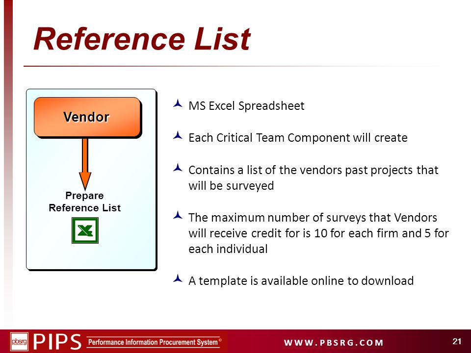 W W W. P B S R G. C O M 21 Reference List Vendor Vendor MS Excel Spreadsheet Each Critical Team Component will create Contains a list of the vendors p