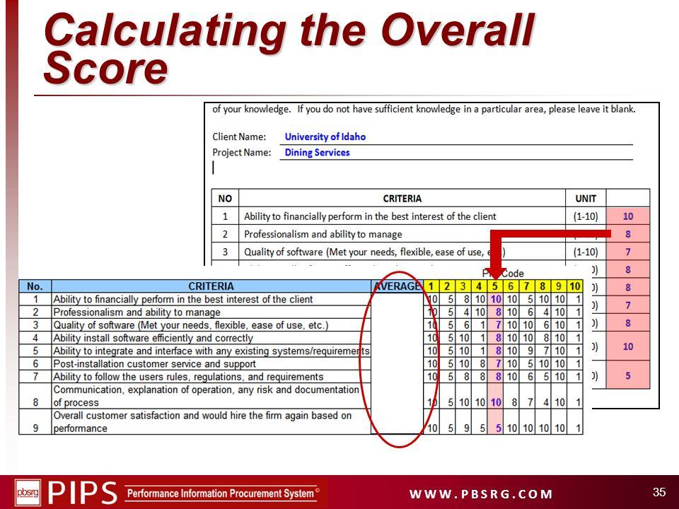 W W W. P B S R G. C O M 35 Calculating the Overall Score
