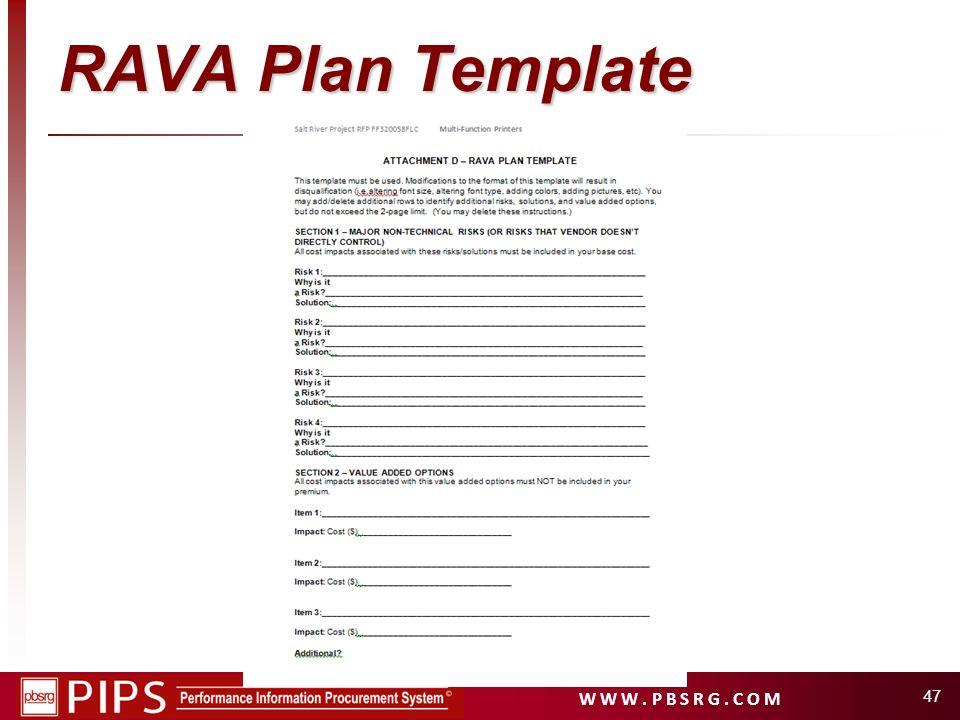 W W W. P B S R G. C O M RAVA Plan Template 47