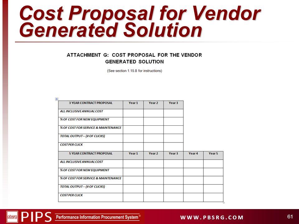 W W W. P B S R G. C O M Cost Proposal for Vendor Generated Solution 61