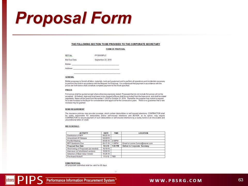 W W W. P B S R G. C O M Proposal Form 63