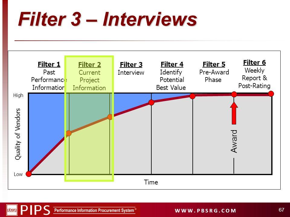 W W W. P B S R G. C O M 67 Filter 1 Past Performance Information Filter 2 Current Project Information Filter 4 Identify Potential Best Value Filter 5