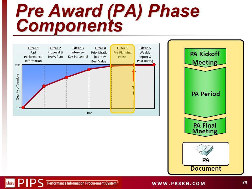W W W. P B S R G. C O M 76 Pre Award (PA) Phase Components PA Kickoff Meeting PA Period PA Final Meeting PA Document