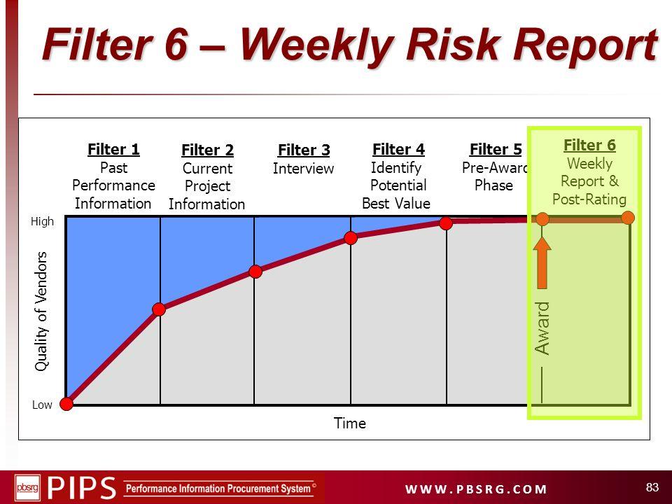 W W W. P B S R G. C O M 83 Filter 1 Past Performance Information Filter 2 Current Project Information Filter 4 Identify Potential Best Value Filter 5