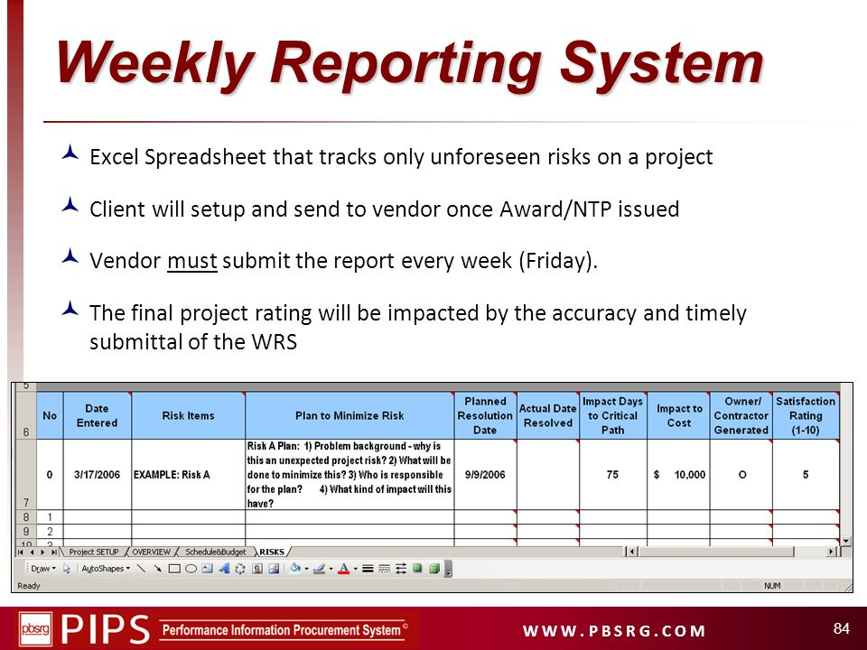 W W W. P B S R G. C O M 84 Weekly Reporting System Excel Spreadsheet that tracks only unforeseen risks on a project Client will setup and send to vend