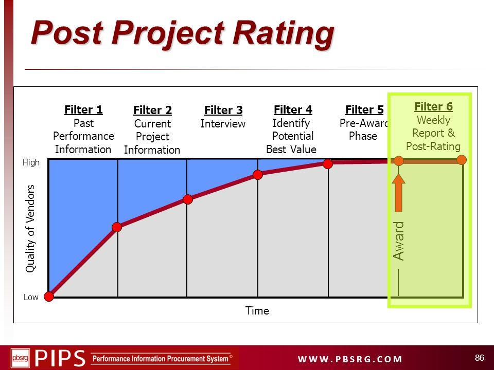 W W W. P B S R G. C O M 86 Filter 1 Past Performance Information Filter 2 Current Project Information Filter 4 Identify Potential Best Value Filter 5