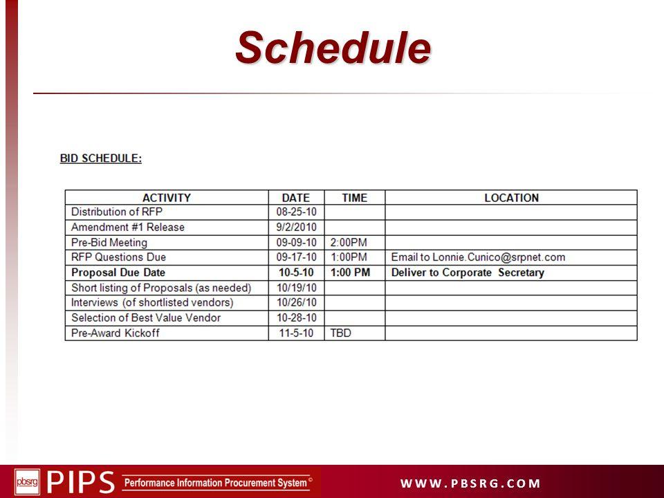 W W W. P B S R G. C O M Schedule