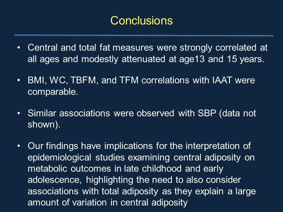 Conclusions Central and total fat measures were strongly correlated at all ages and modestly attenuated at age13 and 15 years. BMI, WC, TBFM, and TFM
