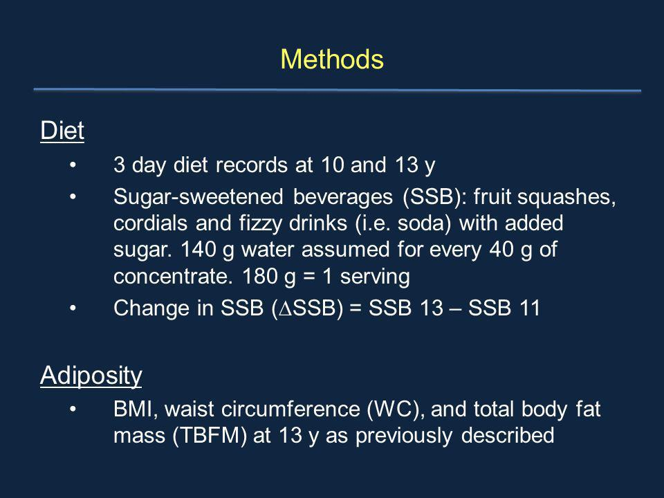Methods Diet 3 day diet records at 10 and 13 y Sugar-sweetened beverages (SSB): fruit squashes, cordials and fizzy drinks (i.e. soda) with added sugar