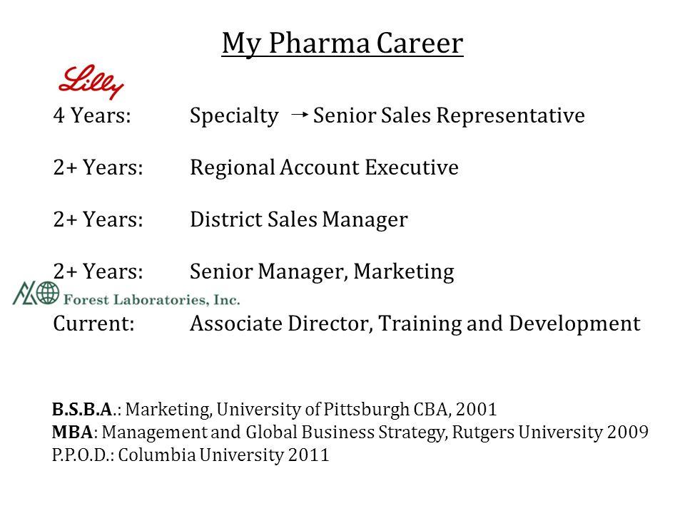 My Pharma Career 4 Years: Specialty Senior Sales Representative 2+ Years: Regional Account Executive 2+ Years: District Sales Manager 2+ Years: Senior