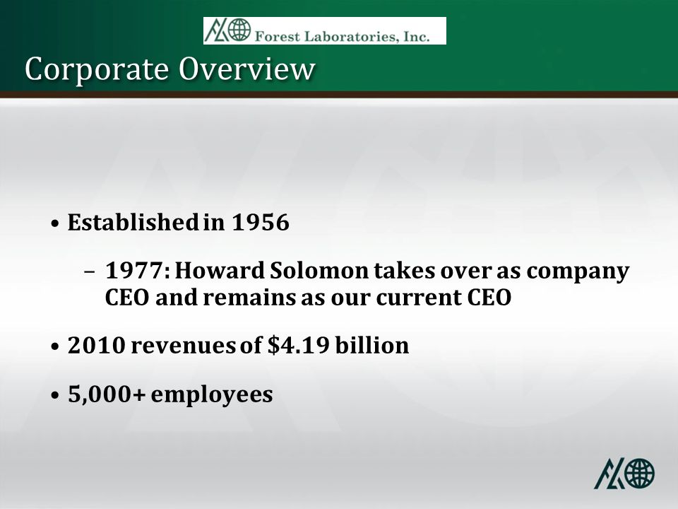 Corporate Overview Established in 1956 –1977: Howard Solomon takes over as company CEO and remains as our current CEO 2010 revenues of $4.19 billion 5