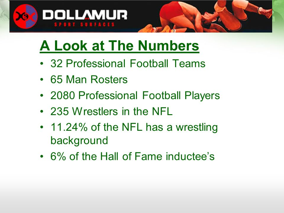 A Look at The Numbers 32 Professional Football Teams 65 Man Rosters 2080 Professional Football Players 235 Wrestlers in the NFL 11.24% of the NFL has