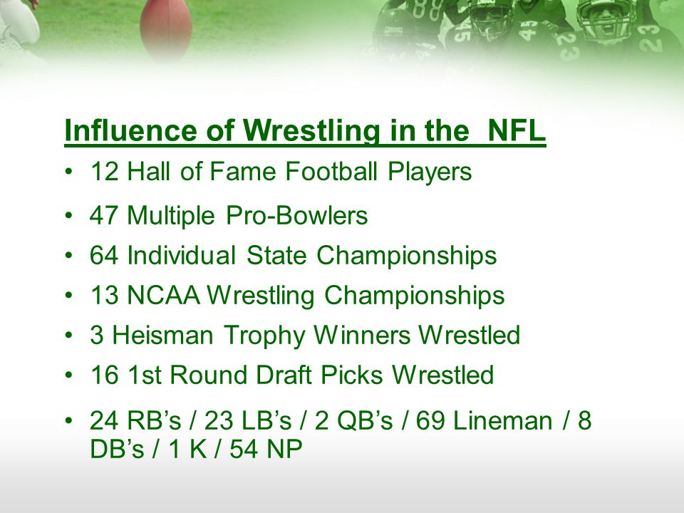 Influence of Wrestling in the NFL 12 Hall of Fame Football Players 47 Multiple Pro-Bowlers 64 Individual State Championships 13 NCAA Wrestling Champio