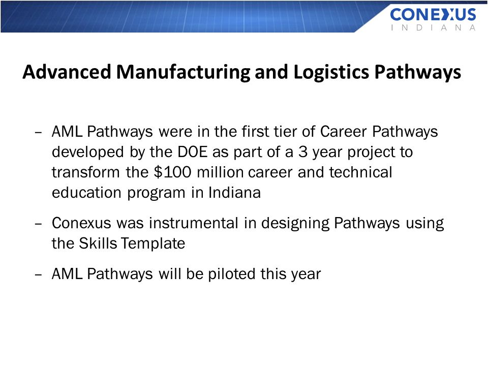 Advanced Manufacturing and Logistics Pathways –AML Pathways were in the first tier of Career Pathways developed by the DOE as part of a 3 year project to transform the $100 million career and technical education program in Indiana –Conexus was instrumental in designing Pathways using the Skills Template –AML Pathways will be piloted this year