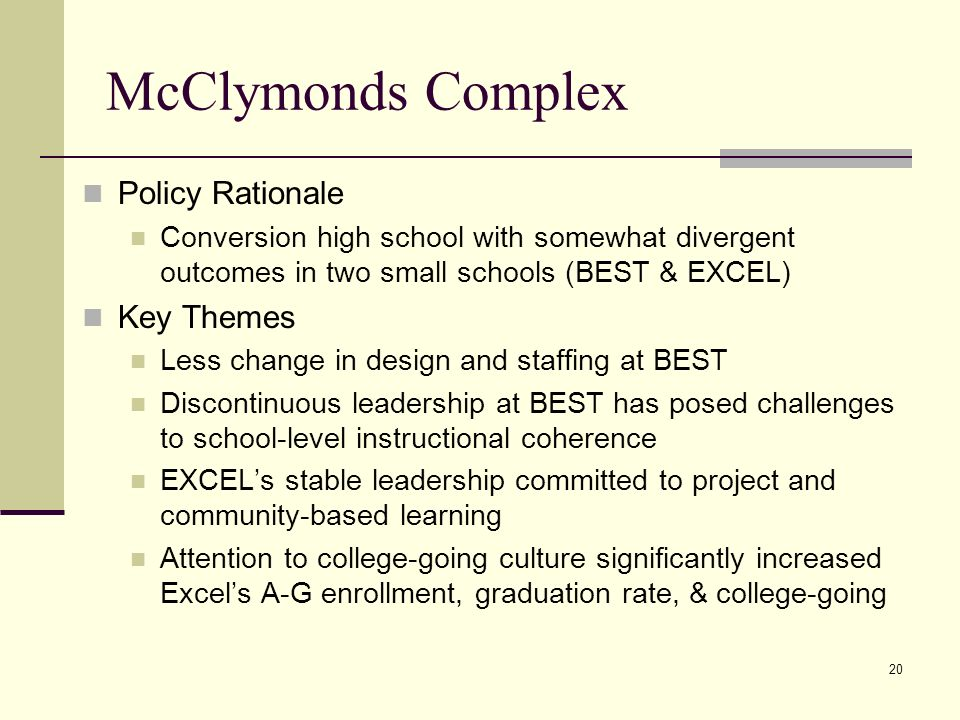 20 McClymonds Complex Policy Rationale Conversion high school with somewhat divergent outcomes in two small schools (BEST & EXCEL) Key Themes Less change in design and staffing at BEST Discontinuous leadership at BEST has posed challenges to school-level instructional coherence EXCELs stable leadership committed to project and community-based learning Attention to college-going culture significantly increased Excels A-G enrollment, graduation rate, & college-going