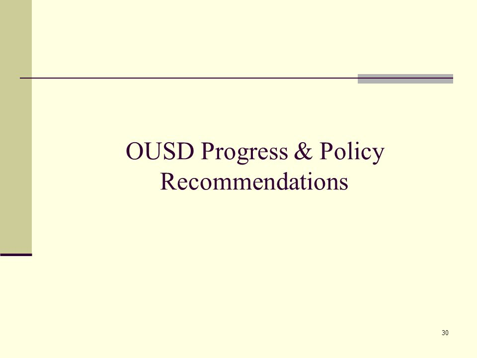 30 OUSD Progress & Policy Recommendations