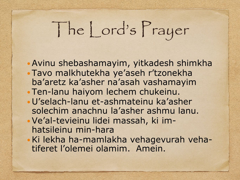 The Lords Prayer Avinu shebashamayim, yitkadesh shimkha Tavo malkhutekha yeaseh rtzonekha baaretz kaasher naasah vashamayim Ten-lanu haiyom lechem chu