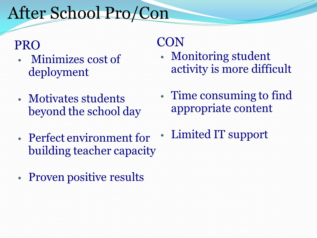 After School Pro/Con PRO Minimizes cost of deployment Motivates students beyond the school day Perfect environment for building teacher capacity Proven positive results CON Monitoring student activity is more difficult Time consuming to find appropriate content Limited IT support