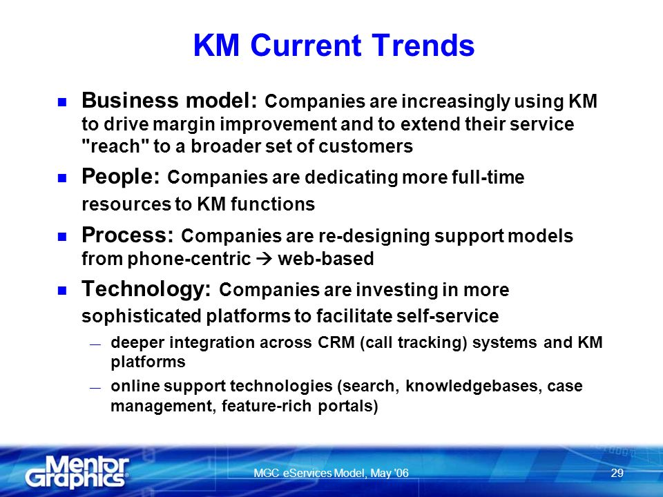 MGC eServices Model, May 0629 KM Current Trends n Business model: Companies are increasingly using KM to drive margin improvement and to extend their service reach to a broader set of customers n People: Companies are dedicating more full-time resources to KM functions n Process: Companies are re-designing support models from phone-centric web-based n Technology: Companies are investing in more sophisticated platforms to facilitate self-service deeper integration across CRM (call tracking) systems and KM platforms online support technologies (search, knowledgebases, case management, feature-rich portals)