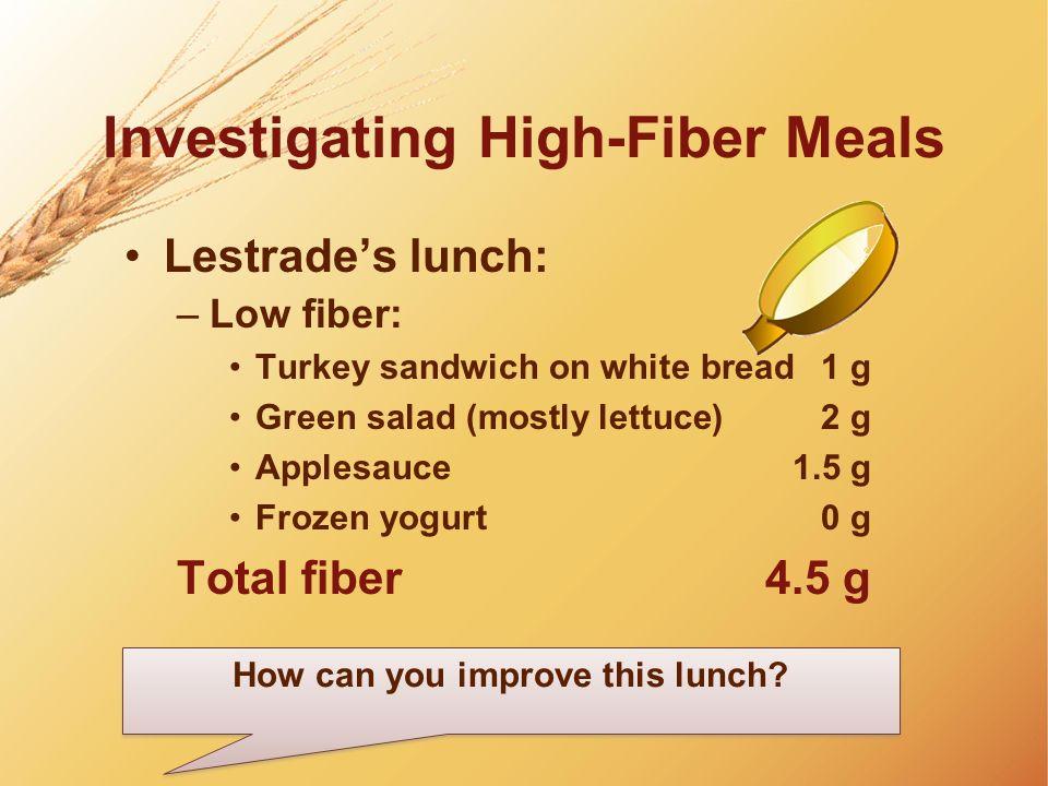 Investigating High-Fiber Meals Lestrades lunch: –Low fiber: Turkey sandwich on white bread1 g Green salad (mostly lettuce)2 g Applesauce1.5 g Frozen y