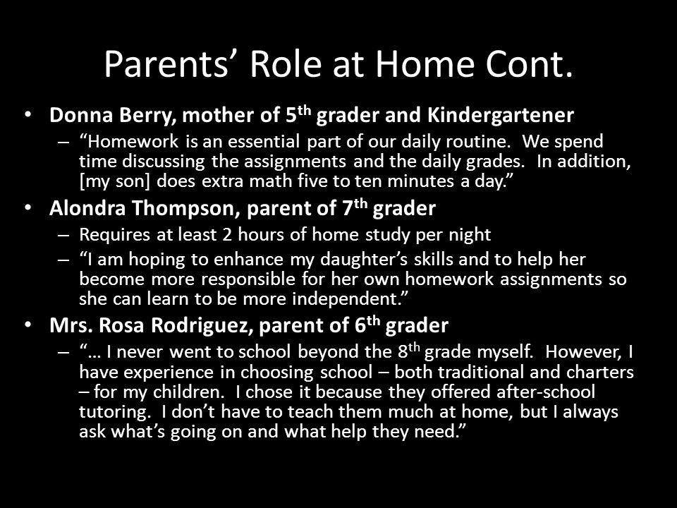 Parents Role at Home Cont.