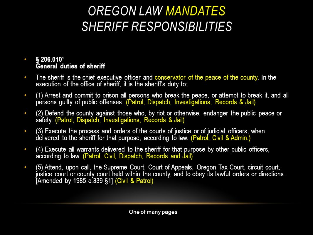 OREGON LAW MANDATES SHERIFF RESPONSIBILITIES § 206.010¹ General duties of sheriff The sheriff is the chief executive officer and conservator of the pe
