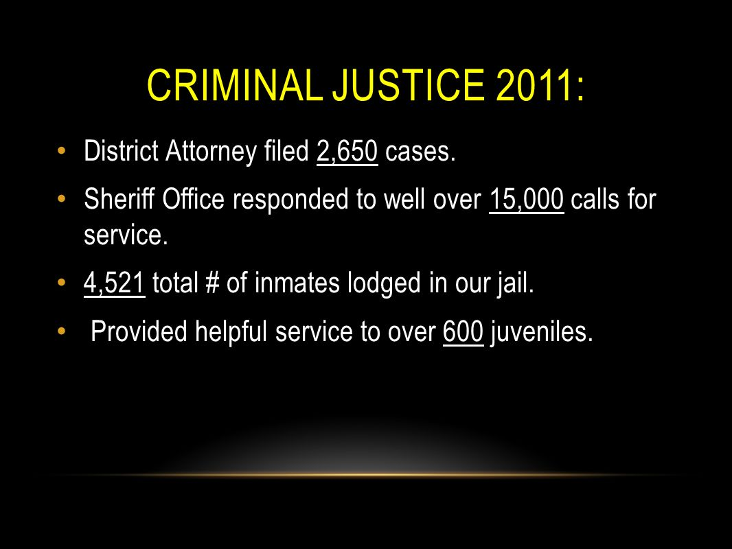 CRIMINAL JUSTICE 2011: District Attorney filed 2,650 cases. Sheriff Office responded to well over 15,000 calls for service. 4,521 total # of inmates l