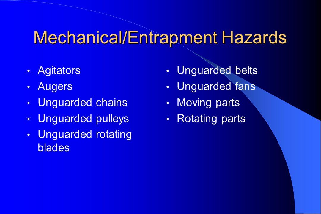 Mechanical/Entrapment Hazards Agitators Augers Unguarded chains Unguarded pulleys Unguarded rotating blades Unguarded belts Unguarded fans Moving part