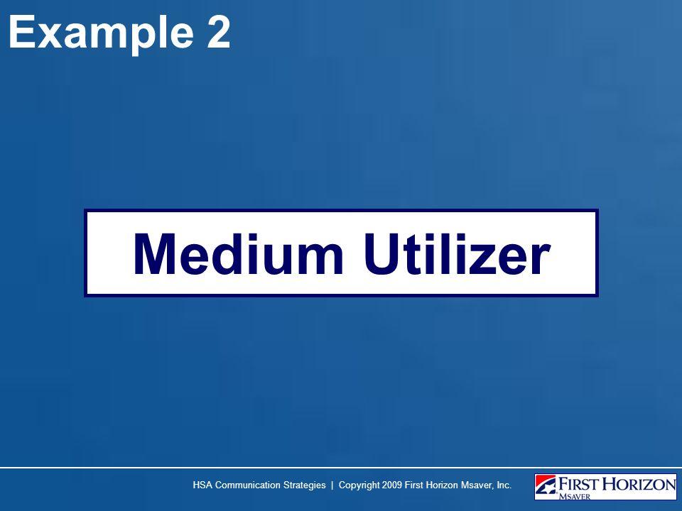 Example 2 Medium Utilizer HSA Communication Strategies | Copyright 2009 First Horizon Msaver, Inc.