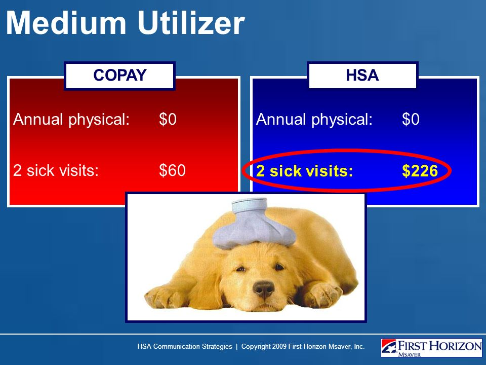 Medium Utilizer Annual physical: $0 2 sick visits:$60 Annual physical: $0 COPAYHSA 2 sick visits:$226 HSA Communication Strategies | Copyright 2009 First Horizon Msaver, Inc.