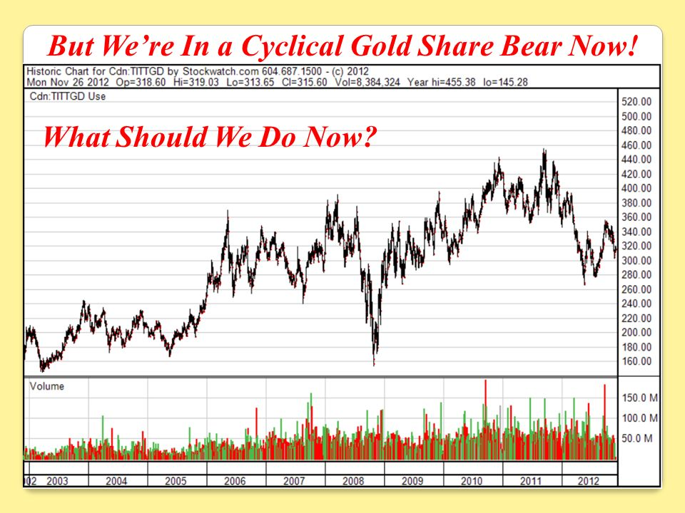 But Were In a Cyclical Gold Share Bear Now! What Should We Do Now