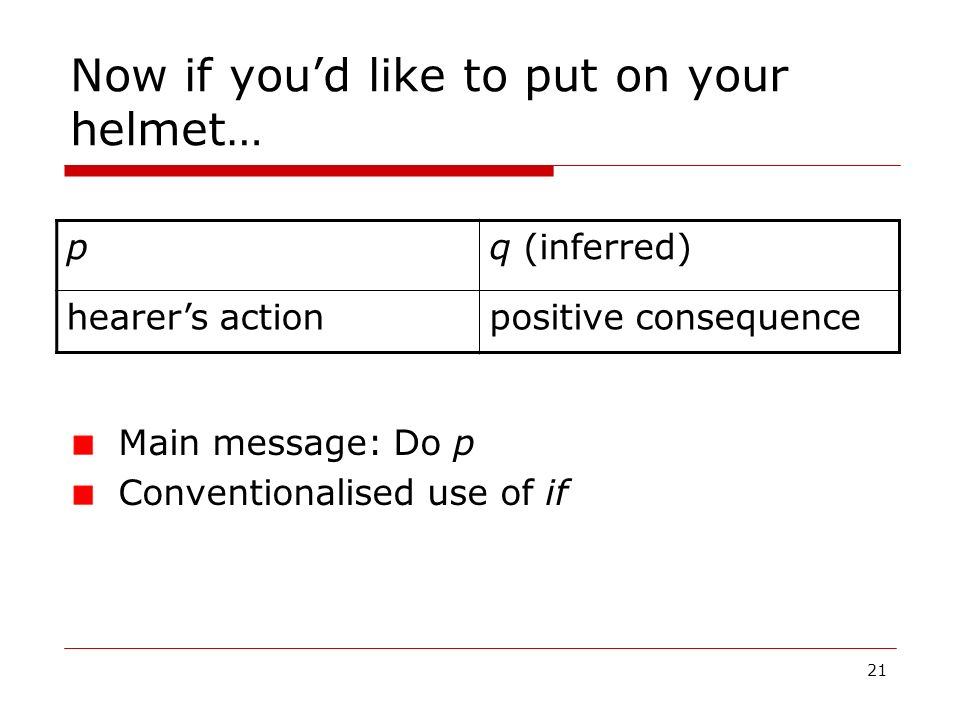 21 Now if youd like to put on your helmet… pq (inferred) hearers actionpositive consequence Main message: Do p Conventionalised use of if
