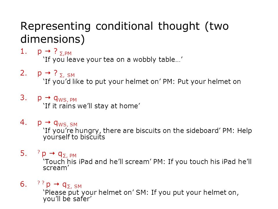 Representing conditional thought (two dimensions) 1.p ?,PM If you leave your tea on a wobbly table… 2.p ?, SM If youd like to put your helmet on PM: P