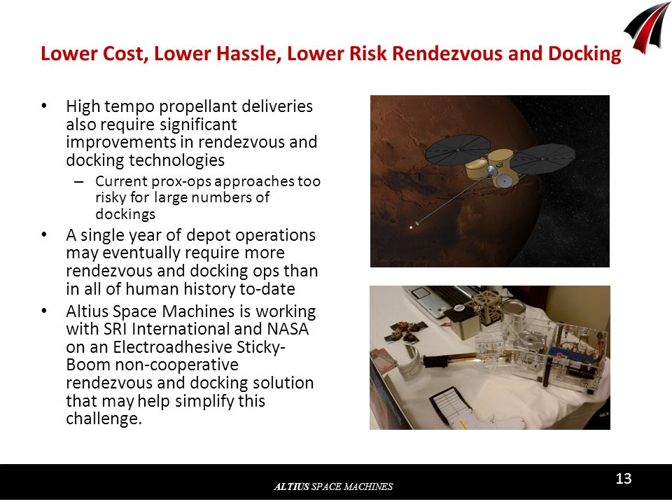 ALTIUS SPACE MACHINES 13 Lower Cost, Lower Hassle, Lower Risk Rendezvous and Docking High tempo propellant deliveries also require significant improve